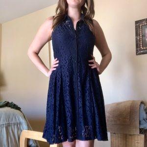 Taylor Navy Lace Button Figure Flattering Dress